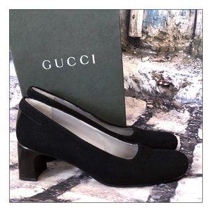 Vintage Classic Gucci Feltro Black Pumps